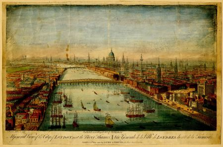 A General View of the City of London, next the River Thames (Colour)